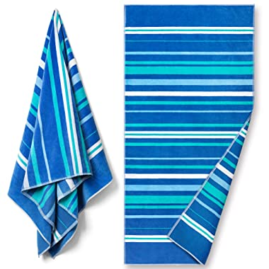 Reversible Premium Large Beach Towel 34 x 64 inch - Luxury Soft Velour in Front and Absorbent Cotton Terry Loop on Reverse Side. (Cool Stripes, Single 34 x 64 )