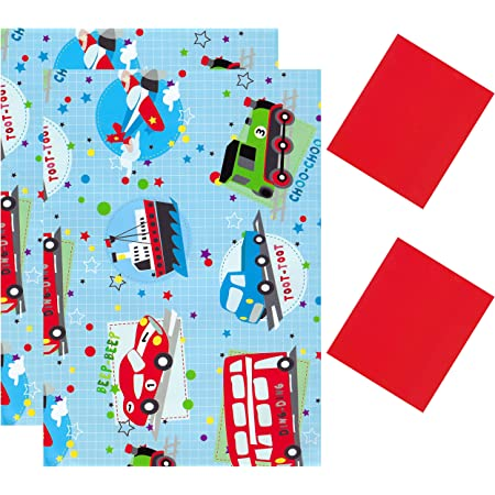 2 Sheets Gift Wrapping Paper & 2 Tags 50cm x 70cm Vehicles Trains Planes & Cars D42