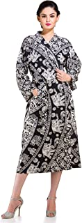 HANDICRAFT-PALACE Indian Elephant Mandala Cotton Womens Nightwear Kimono Dressing Gown Bath Robe