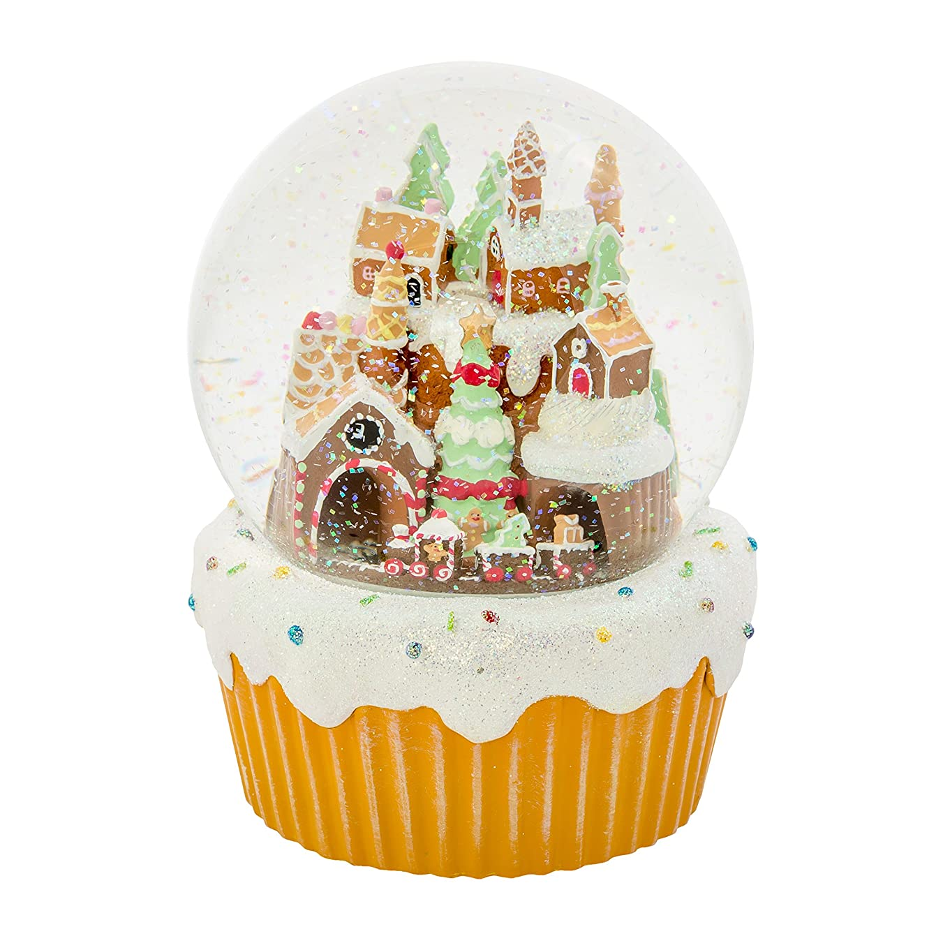Roman Gingerbread Village Train 120MM Musical Glitterdome Water Globe Plays We Wish You a Merry
