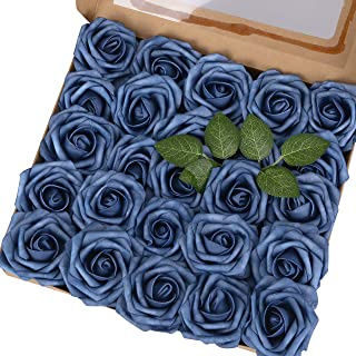 Breeze Talk Artificial Flowers Dusty Blue Roses 25pcs Realistic Fake Roses w/Stem for DIY Wedding Bouquets Centerpieces Arrangements Party Baby Shower Home Decorations (25pcs Dusty Blue)
