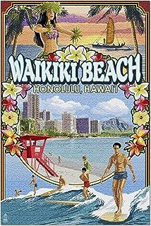 Waikiki Beach, Oahu, Hawaii - Scenes 34140 (19x27 Premium 1000 Piece Jigsaw Puzzle for Adults)