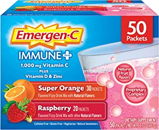 Emergen-C Immune+ Vitamin C 1000mg Powder, Plus Vitamin D and Zinc (50 Count, Super Orange and Raspberry Flavors), Immune Support Dietary Supplement, Antioxidants & Electrolytes