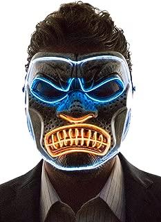 Men's Light Up Gorilla Mask, Pink, Aqua, Green