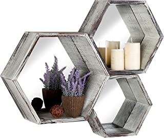 MyGift Rustic Torched Wood Hexagon Wall Mounted Floating Shelves with Mirrored Backing, Set of 3