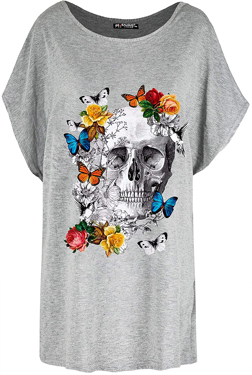 Be Jealous Womens Colourful Butterfly Floral Skull T-Shirt