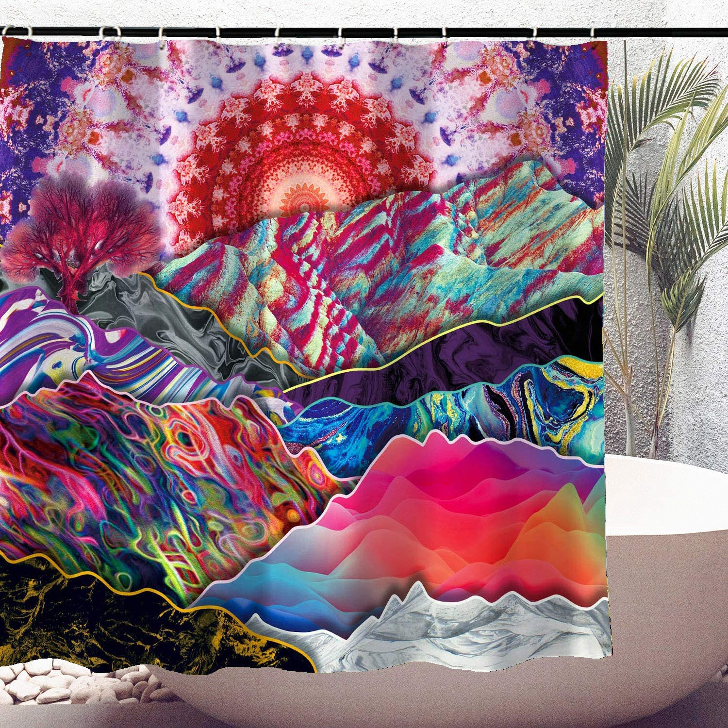 Psychedelic Shower Curtain Trippy online shop Mountain Mushrooms La Fixed price for sale Colorful