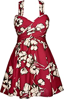 2c9af0a38f10a COCOPEAR Women s Elegant Crossover One Piece Swimdress Floral Skirted  Swimsuit(FBA)