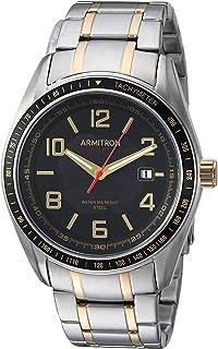 ساعة Armitron الرجالية 20/5252BKTT بخاصية عرض التاريخ تعمل بالطاقة الشمسية بخاصية التقويم والقرص ذو درجتين سوار