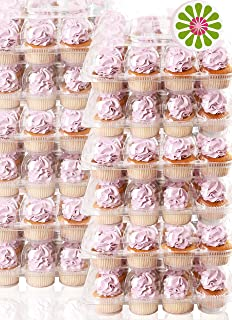 (12Pack x 12 Sets) STACK'nGO Cupcake Carriers - High Tall Dome Clear Containers Thick Plastic Disposable Storage Boxes. 2 Dozen Compartments Slots Holder Cupcakes Box Tray Container. Cup Cake Holders