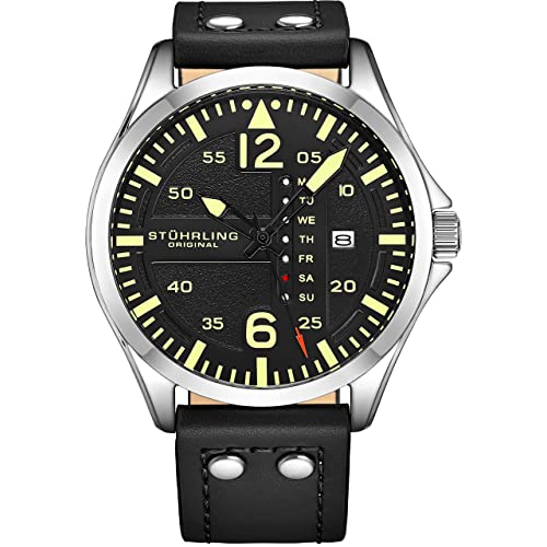 8435613a03a401 Stuhrling Original Mens Black Dial Japanese Quartz Aviator Pilot Military  Designer Wrist-Watch Stainless Steel