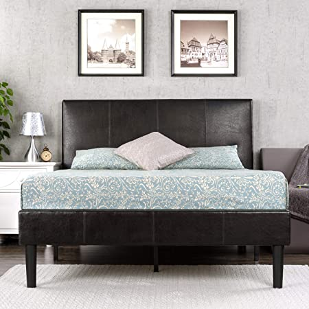 Zinus Gerard Faux Leather Upholstered Platform Bed Frame / Mattress Foundation / Wood Slat Support / No Box Spring Needed / Easy Assembly, Full