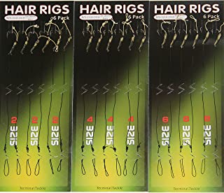 18pcs Carp Fishing Hair Rigs Coated Line Carp Hair Rig with Barbed Carp Hook Anti-Tangle Rig Sleeves Carp Fishing Connector Size 2 4 6