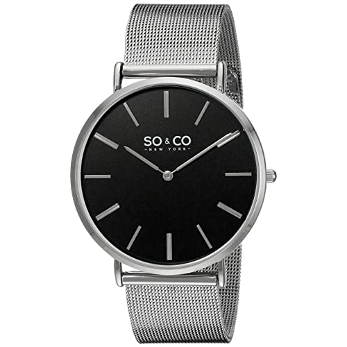 SO&CO New York Mens 5102.1 Madison Quartz Stainless Steel Mesh Bracelet Watch