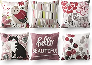 """Phantoscope Decorative Set of 6 Pink Series Home Sweet Home Throw Pillow Case Cushion Cover 18"""" x 18"""" 45cm x 45cm"""