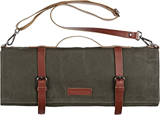 Chef Knife Roll Bag - Handmade Waxed Canvas and Leather Knife Bag Stores 10 Knives + Zipper Pocket and Shoulder Strap (Army Green)