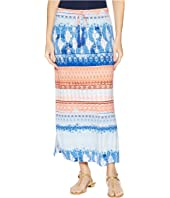 """35"""" Printed Jersey Long Skirt with Drawstring in Blue Wave"""