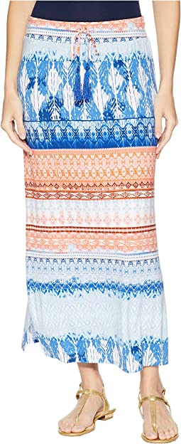 "35"" Printed Jersey Long Skirt with Drawstring in Blue Wave"