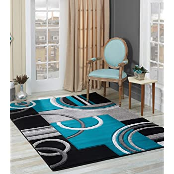 GLORY RUGS Area Rug Modern 5x7 Turquoise Soft Hand Carved Contemporary Floor Carpet with Premium Fluffy Texture for Indoor Living Dining Room and Bedroom Area