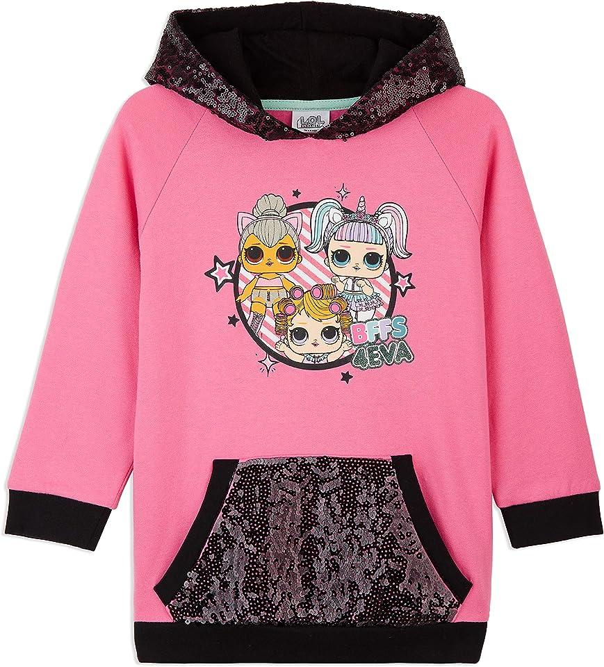 Girls Hoodies, LOL Dolls Pink Kids Sweatshirt With Sequin
