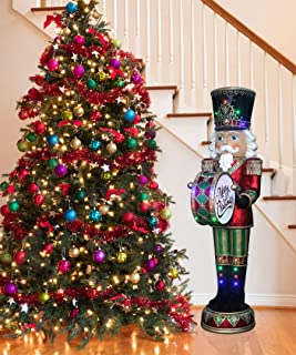 Fraser Hill Farm FFRS072-NC5-RD Indoor/Outdoor 6-Ft. Nutcracker Playing Bass Drum with Moving Hands, Music, Timer, and 32 LED Lights Holiday Decoration, Color 4