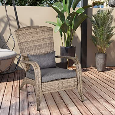 Outsunny Patio Adirondack Chair with All-Weather Rattan Wicker, Soft Cushions, Tall Curved Backrest, Yellow