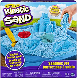 Kinetic Sand, Sandbox Playset with 1lb of Blue Kinetic Sand and 3 Molds, for Ages 3 and Up