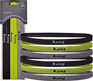 Athlé Skinny Sports Headbands 6 Pack - Men's and Women's Elastic Hair Bands with Non Slip Silicone Grip - Lightweight and ...