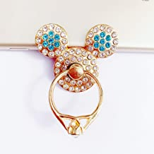 Universal 360 Rotating Finger Ring Stand Holder for Cell Phone iPhone iPad or Tablet - Crystal Mickey Mouse (Turquoise)