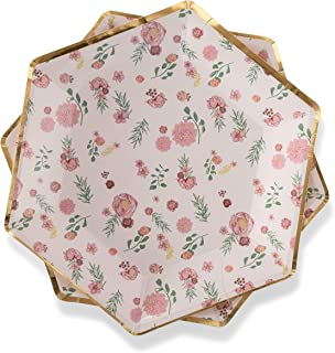Floral Paper Plates Pink Flowers 7
