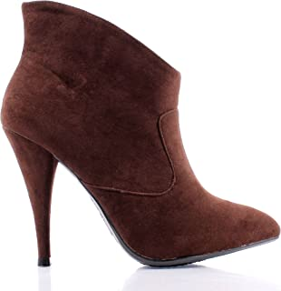Anne Michelle Brown Point Toe Slip on Narrow Booties Sexy Dressy High Heel Womens Ankle Boots New Without Box