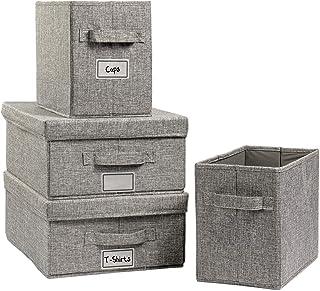 Hausfelder ORDNUNGSLIEBE Lot de grandes boîtes de rangement avec et sans couvercle – Panier de rangement en tissu gris ant...