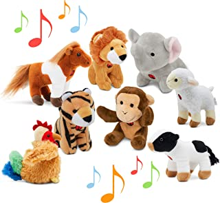 Animal Toys Set with Sound (Set of 8) | Jungle & Farm Talking Animals | Cow, Horse, Sheep, Rooster, Monkey, Lion, Tiger & ...