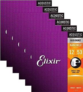 Elixir 11052 Acoustic 80/20 Nano Light 12-53 (6 Pack Bundle)