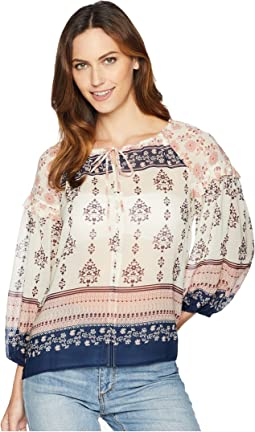 Tile Wildflower Tie Neck Peasant Blouse