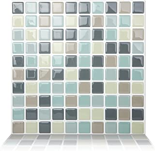 Tic Tac Tile 10-Sheet Peel and Stick Self Adhesive Removable Stick On Kitchen Backsplash Bathroom 3D Wall Tiles in Mosaic MIntgray
