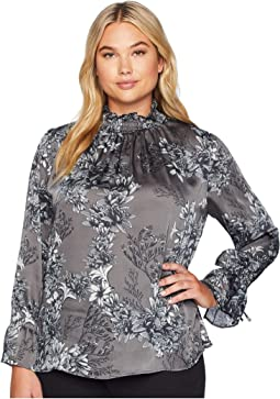 Plus Size Flare Tie Long Sleeve Woodland Floral Smock Neck Blouse