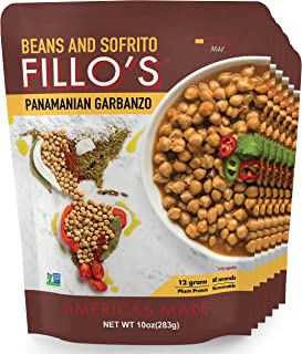 FILLO'S Panamanian Garbanzo Beans, Ready to Eat Sofrito Beans, 6 Count, 10 Ounces Each,..