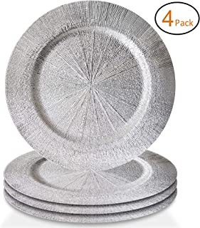 ChargeIt by Jay 1270553-4S Vienna Set of 4 Round Charger Plates, 13x13