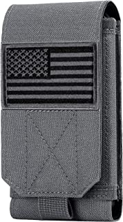IronSeals Tactical Molle Mobile Phone Cover Case, Heavy Duty Loop Belt Holster Pouch with Flag Patch for iPhone 12 Pro Ma...