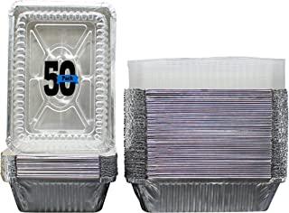 """50 Pack of Disposable Takeout Pans with Clear Lids – 2 Lb Capacity Aluminum Foil Food Containers – Strong Seal for Freshness – Eco-Friendly and Recyclable – 8x5.5"""" Inch Drip Pans - By MontoPack"""