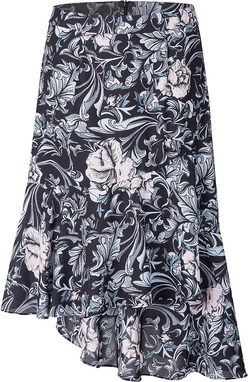 Tronjori Womens A Line Floral Print Midi Skirt Flared Hem