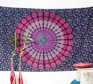 Folkulture Mandala Tapestry Wall Hanging Indian Hippie Tapestry, Bohemian Throw Blanket or Picnic Blanket, Boho Tapestry f...