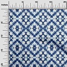 oneOone Cotton Poplin Twill Indigo Blue Fabric Geometric Shibori Craft Projects Decor Fabric Printed by The Meter 56 Inch ...