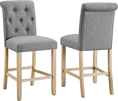 Roundhill Furniture Siena Counter Height Button Tufted Back Solid Wood Stools, Set of 2, Gray