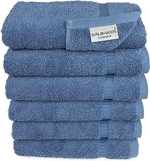 SALBAKOS Luxury Hotel & Spa Turkish Cotton 6-Piece Eco-Friendly Hand Towel Set 16 x..