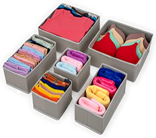 Stockyfy Foldable Cloth Dresser Drawer Organizer – Drawer Divider – Storage Box – Closet – Basket Bins for Underwear, Bras, Socks, Clothes – Pack of 6 – Light Grey with White Piping