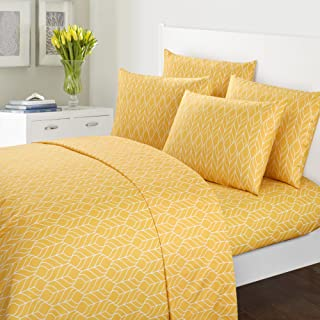 Chic Home Red Maple 6 Piece Sheet Set Super Soft Two-Tone Geometric Leaf Pattern Print Deep Pocket Design – Includes Flat & Fitted Sheets and Bonus Pillowcases, Queen Yellow