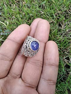 Kyanite Ring, 925 Sterling Silver, Beautiful Blue Jewelry, Antique Jewelry, Victorian Ring, Designer Ring, Hippie Ethnic Ring, Perfect Birthday Gift, Filigree Statement Ring, Wedding Engagement Gift Jewelry, Anniversary Gift Ring