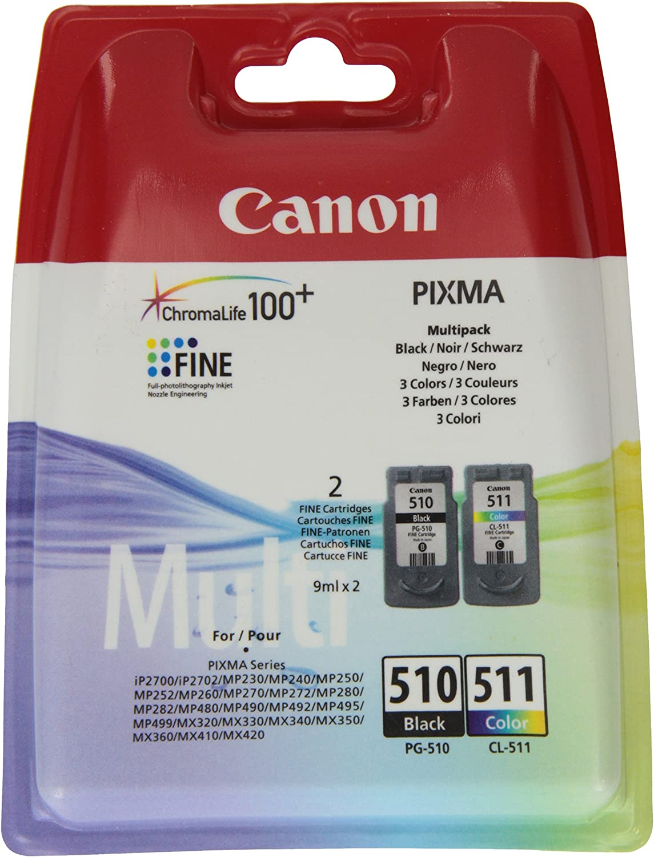 Canon Tintenpatrone Pg 510 Cl 511 Bk Color Multipack 9 Ml Original Für Tintenstrahldrucker Bürobedarf Schreibwaren